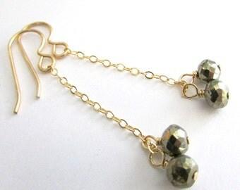 Pyrite Earrings, Gold Chain Drop Earrings, Pyrite Dangle Earrings, Gray Gold Earrings, Gold Chain Earrings, Bridesmaids Earrings, Wedding