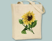 Vintage Sunflower llustration Canvas Tote - Selection of sizes available