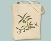 Beautiful Greek Olive Branch Image Canvas Tote Bag,  -- selection of sizes available