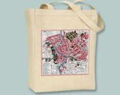 Vintage Map of Rome on Natural or Black Tote  -  Selection of sizes available