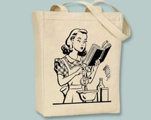 Retro Vintage Woman Baking Illustration Tote - Selection of  sizes and image colors available