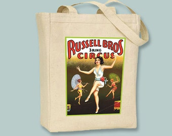 Thrilling Russell Brothers Circus Tightrope Walker Poster BLACK or NATURAL canvas tote, selection of sizes