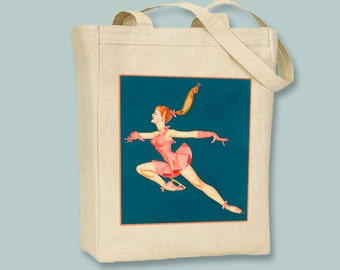 Vintage Ice Princess NATURAL or BLACK Canvas Tote - selection of sizes available