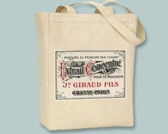 Ornate French Parfums Label on Natural or Black Canvas Tote - Selection of sizes available
