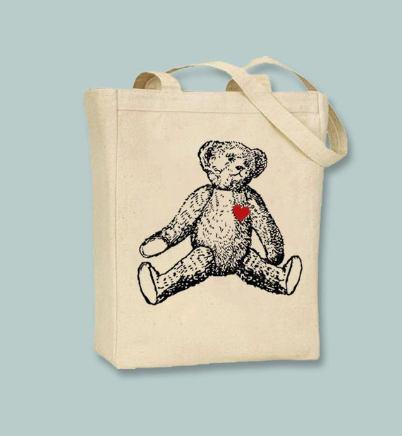 Teddy Bear with Heart Patch Vintage Image on Canvas Tote -- Selection of sizes available