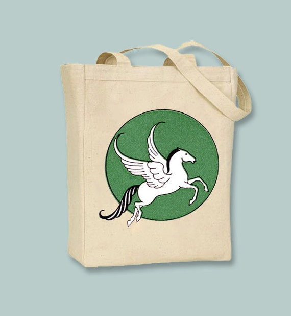 Beautiful Vintage Pegasus Illustration on Canvas Tote with Shoulder Strap - Selection of sizes available
