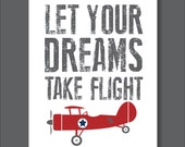 Vintage Airplane, Dream, Flight, Boy's Room Decor, Airplane Decor- Print