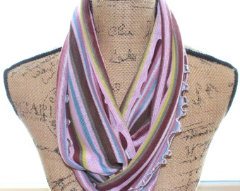Infinity Loop Scarf/Stripe Stretch Knit/Lightweight/Cabbage Ruffle Edge/Unique/Accessory/Handmade/60 Inch Loop by 7 Inches Wide