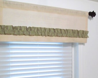BURLAP Valance Off White Sage Green Ruffled Curtain  Handmade in the USA