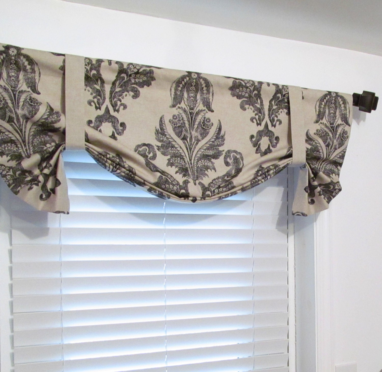 Tie up valance top window treatment black oatmeal lined for Lined valances for living room