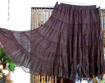 Chocolate-Brown Smocked Tiered Widely Flaring Skirt, Vintage - Medium