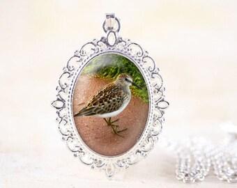 Sandpiper Necklace - Silver Bird Necklace, Shore Bird Jewelry, Shorebird Pendant, Silver Bird Jewelry, Sandpiper Jewelry, Nature Jewelry