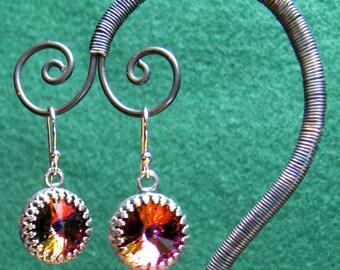 Earrings - 12mm Vitrial Swarovski Rivoli Crystals in Silver (E-225)