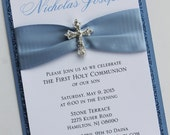 Blue Baptism-Communion Invitation with Vintage Sparkling Cross; Rhinestone Buckle; Rhinestone Cross Brooch