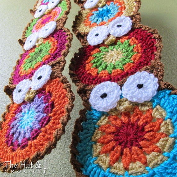 Crochet Pattern - B HOO UR Scarf - a colorful owl scarf pattern - Instant PDF Download