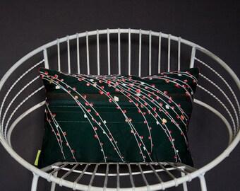 Kimono Cushion Floral Black Pillow -Vintage Silk -Red Velvet -UME Plum blossom throw cushion -Upcycled japanese kimono -Metallic -Crimson
