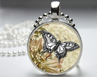 Vintage Altered Art Buttefly Round Pendant Necklace with Silver Ball or Snake Chain Necklace or Key Ring