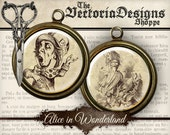Alice in Wonderland Circles printable - 1 inch / 18mm / 16 mm / 14mm / 0.5 inch jewelry pendant digital download collage sheet - VDCIAL0038