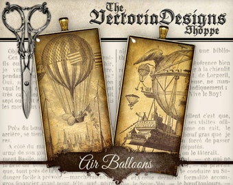 Air Balloon Images - Domino / 1 inch square / Scrabble Tile - printable hobby crafting instant download digital collage sheet - VDSQST0076
