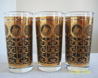 Mid Century Modern 22kt Gold Detailing Drinking Glasses - Culver High Ball Glasses - Set Of Three Gold And Black Highball Glasses