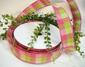Checkered Ribbon, Burlap Ribbon, Wired Burlap Ribbon, Pink Green Plaid Ribbon, 1.5 Inch Ribbon, 25 Yard Ribbon Spool, Wreath Supplies