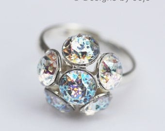 Swarovski Patina White Cluster Adjustable Ring