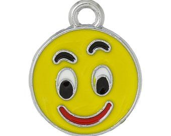 5 Silver Tone YELLOW Enamel CURIOUS Smiley FACE Charm Pendants  che0401