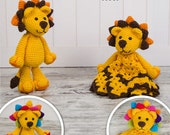 Combo Pack - Logan the Lion Lovey and Amigurumi Set for 5.99 Dollars - PDF Crochet Pattern - Instant Download - Special Offer Pack