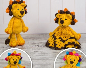 Combo Pack - Logan the Lion Lovey and Amigurumi Set for 7.99 Dollars - PDF Crochet Pattern - Instant Download - Special Offer Pack