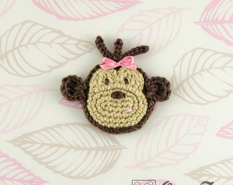 Instant Download - PDF Crochet Pattern - Monkey Applique  - Text instructions and SYMBOL CHART instructions