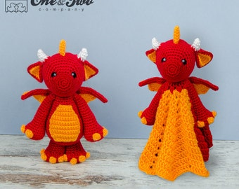 Combo Pack - Felix the Baby Dragon Lovey and Amigurumi Set for 7.99 Dollars - PDF Crochet Pattern - Instant Download - Special Offer Pack