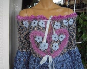 MADE TO ORDER Handmade knitted top cardigan in shades of blue/embroidered with flowers and crystals top gift idea for her by goldenyarn