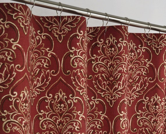 Brick RED DAMASK Shower Curtain 72 X 72 Southwest By PondLilly