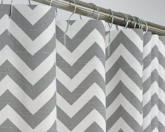 96 long gray chevron shower curtain 72 x 96 long by pondlilly. Black Bedroom Furniture Sets. Home Design Ideas