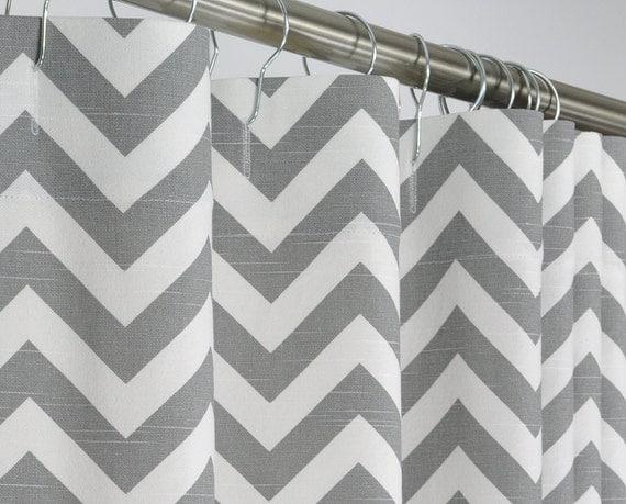 96 LONG Gray Chevron Shower Curtain - 72 x 96 LONG - Extra Long
