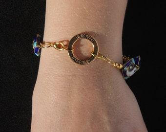 Yin Yang Cloisonne-look Bracelet, 7 3/4 inches