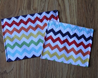 Reusable Sandwich and Snack Bag Combo-Rainbow Chevron