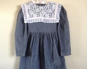 1980's Gray Lace Collar Dress (4t/5)