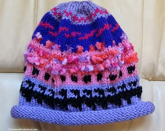 Nordic Knit Intarsia Hat Lavender Pink - Hand Knit Scandinavian Hat - Norwegian Hat - Roll Brim Hat - One Size Fits Most Adults - Item 4184