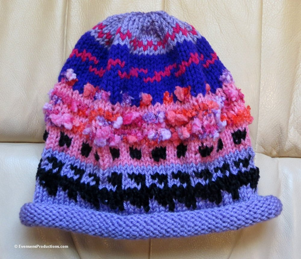 Knitting Patterns For Nordic Hats : Nordic Knit Intarsia Hat Lavender Pink Hand Knit