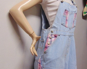 Pink Plaid and  Denim Overalls  Vintage 90's  - Sz-Small