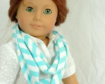 Infinity Scarf Fits 18 Inch Dolls Turquoise Aqua and White Chevron Jersey Knit Scarf Doll Party Favors Handmade by Thimbledoodle