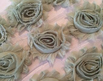 "Sage Green Shabby Flower trim  2.5"" Shabby rose Flowers  Chiffon flowers Solid Shabby Chic Trim Wholesale Rosette trim 6cm  yard #710"