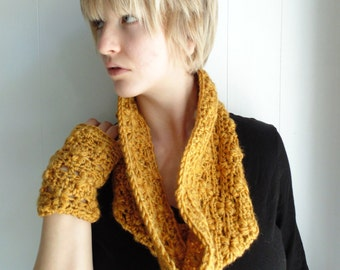 Crochet PATTERN - Echo Cowl and Fingerless gloves- Infinity Scarf