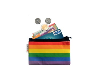 RAINBOW colored wallet, printed Wallet, Colorful cotton coin purse with black zipper, gay valentines, gay pride, gay, lgbt, love parade