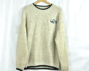 Vintage Wool Sweater Jumper Large XL Woolrich Pullover Light Gray Grey Preppy Menswear Made in America