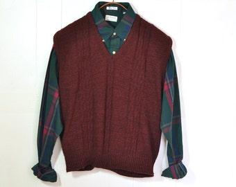 Mens Sweater Vest XL Cable Knit V-Neck Deep Burgundy Vintage 1980's Preppy Menswear Easy Care Acrylic