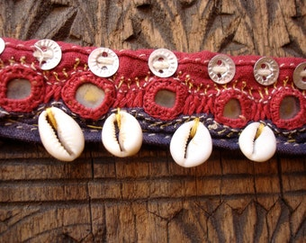 Indian Banjara  hand embroidered  piece or lined hip scarf belt base with shells and mirrors