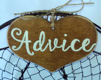 """Rustic Wedding """"Advice"""" Sign  for Your Rustic, Country, Shabby Chic Wedding-Bridal Showers- Graduation etc"""