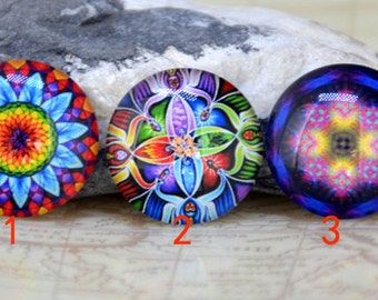 Circle Mixcolor Flower Handmade photo glass cabochon dome beads 10mm 12mm 14mm 16mm 18mm 20mm 22mm 25mm 30mm Ear  Necklace Bracelet Jewelry